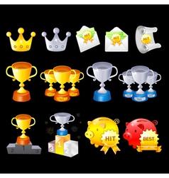 Gold silver bronze contest awards icon sets vector