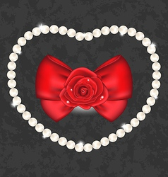 Red rose with bow and pearls for valentine day vector