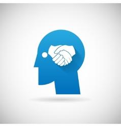 Partnership symbol handshake in head silhouette vector