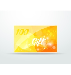 Gift greeting card yellow glitter with shine vector