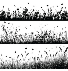 Grass line set vector