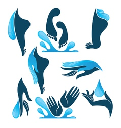 Life in water clean hands and feet vector