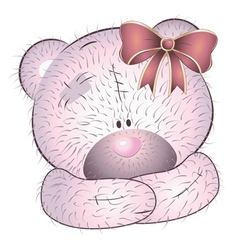 Pink bear with bow vector