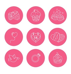 St valentine day icons thin line style flat vector