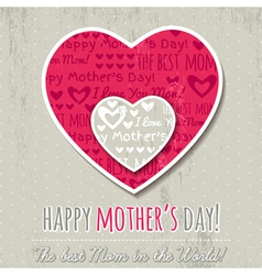 Mothers day card with hearts vector