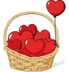 Basket full of love - hearts vector