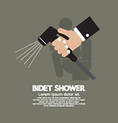 Hand using a bidet shower vector