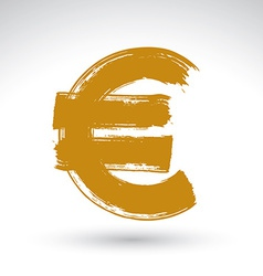 Hand-painted yellow euro icon isolated on white vector