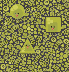 Geometric birds pattern vector