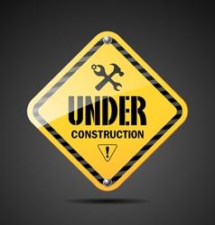 Under construction sign on black background vector
