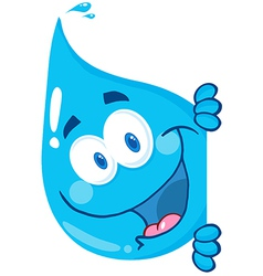 Happy water drop looking around a sign vector