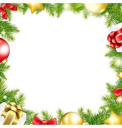 Christmas background with ribbon and xmas ball vector