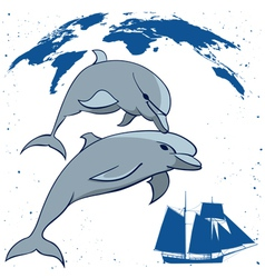 Dolphins and tall ship vector