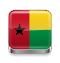 Metal icon of guinea bissau vector