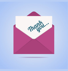 Colorful envelope with thank you letter vector