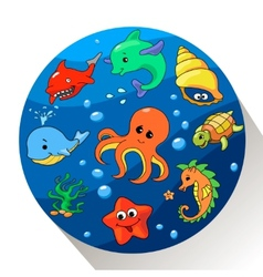 Cute sea creatures set vector