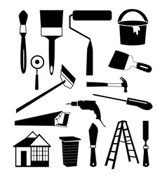 House repair tools icons set vector