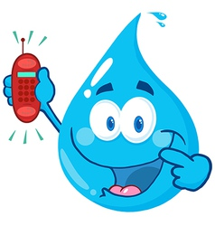 Water drop cartoon character holding a telephone vector