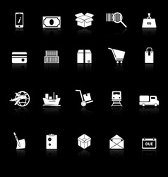 Shipment icons with reflect on black background vector