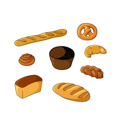 Set of cartoon bread bakeries vector
