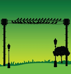 Nature with sparrow and street lights vector