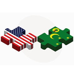 Usa and cocos keeling islands flags in puzzle vector