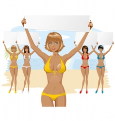 Bikini girl with empty board vector