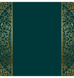 Turquoise gold ornate border vector