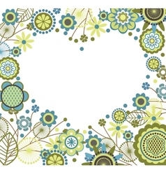 Floral frame in heart shape vector
