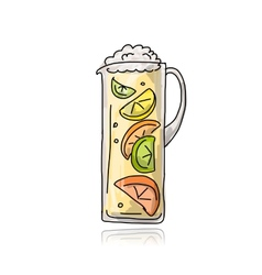 Jar with cocktail sketch for your design vector