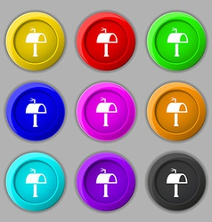 Mailbox icon sign symbol on nine round colourful vector