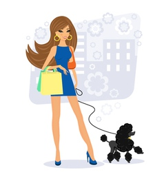 Pretty young woman with poodle vector