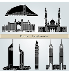 Dubai landmarks and monuments vector