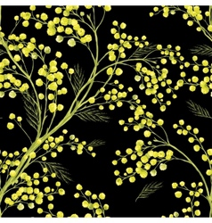 Seamless spring pattern with sprig of mimosa vector