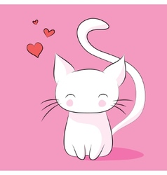 In love with the cat on a pink background vector