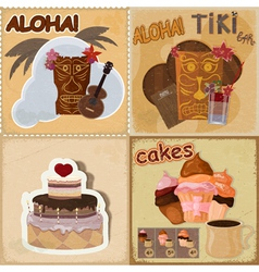 Food and hawaiian masks vector
