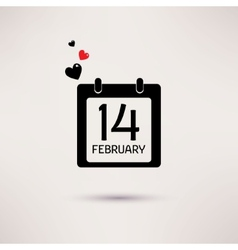 Valentines day icon calendar with hearts vector