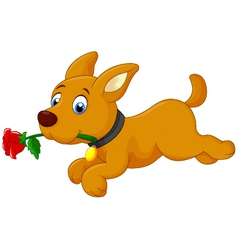 Cute cartoon dog running with rose vector