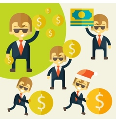 Set of cheerful businessman with his money vector