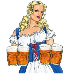 Girl with beer vector