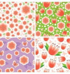 Flower pink pattern set vector