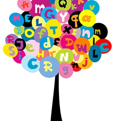 Abstract tree with the letters of alphabet vector