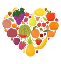 Healthy lifestyle fruit heart vector
