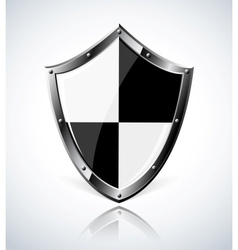 Silver shield with reflection vector