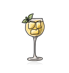 Glass with cocktail sketch for your design vector