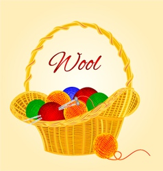 Ball of wool in basket homemade knitting vector