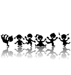 Stylized children silhouettes vector