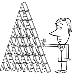 Businessman and house of cards cartoon vector