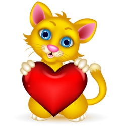Cute cat cartoon holding heat love vector