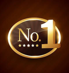 Number one brand golden label design vector